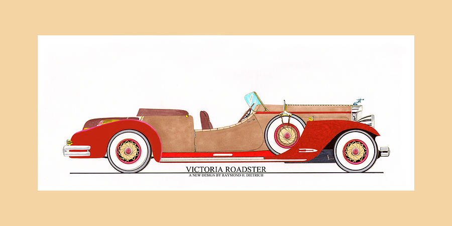 Car Photography Painting - Ray Dietrich Packard Victoria Roadster Concept Design by Jack Pumphrey