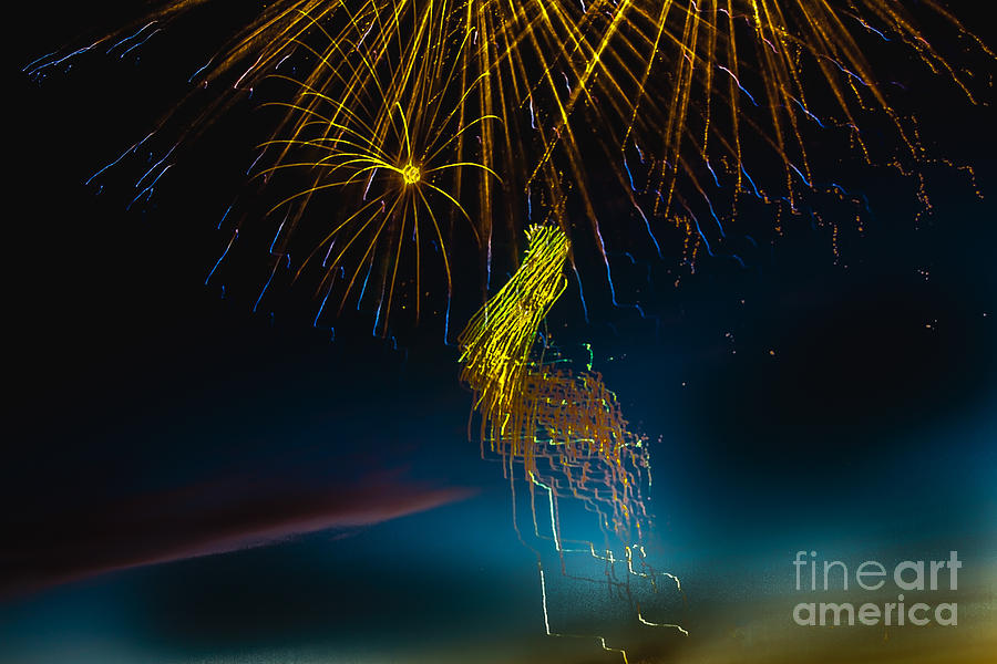 Fireworks Photograph - Rays Of Light From Above by Robert Bales