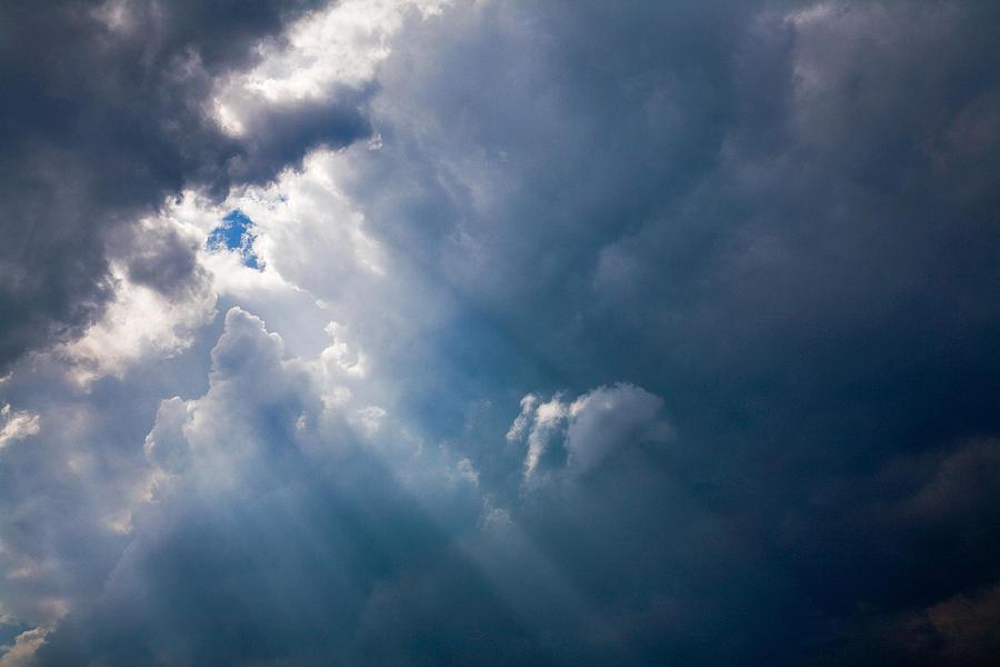 Sky Photograph - Rays Of Sunshine Through Dark Clouds by Natalie Kinnear