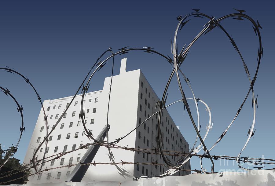 Razor Wire Photograph - Razor Wire In Skid Row by Gregory Dyer