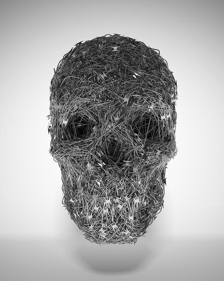 Razor Wire Skull Digital Art by Luke Dwyer