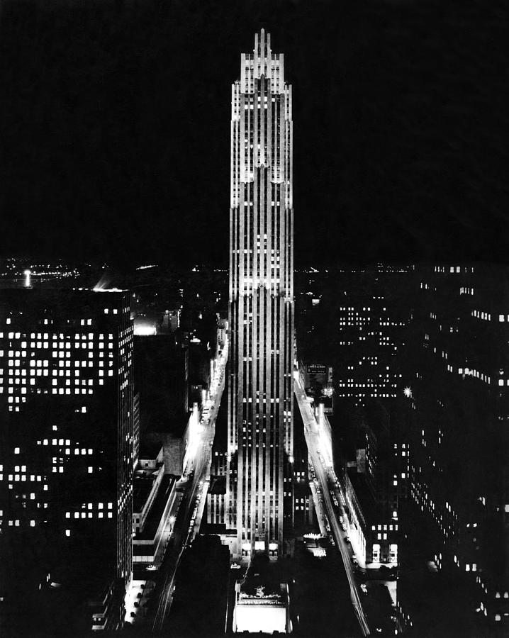 1938 Photograph - Rca Building At Night In Nyc by Underwood Archives