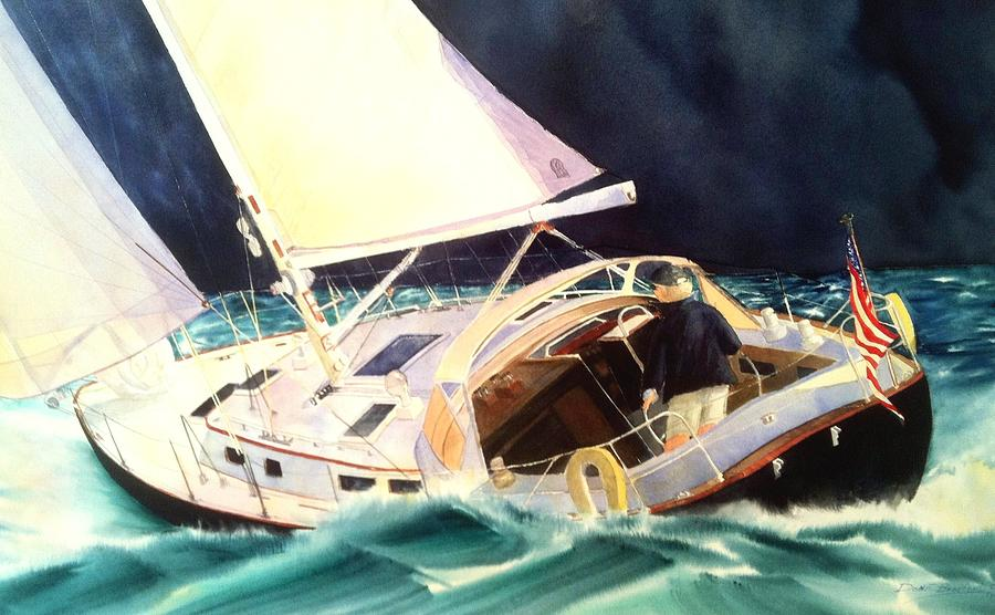 Sailboats Painting - Reach For Safe Harbor by Don F  Bradford