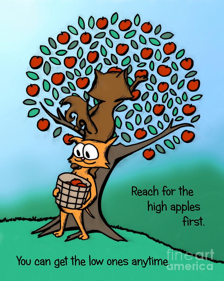 Apple Digital Art - Reach For The High Apples by Pet Serrano