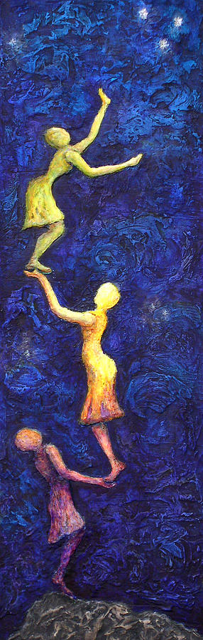 Women Painting - Reach For The Stars by Linda Carmel