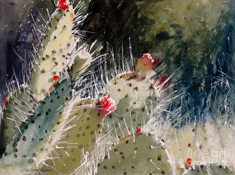 Cactus Painting - Reach For The Sun by Sandra Strohschein