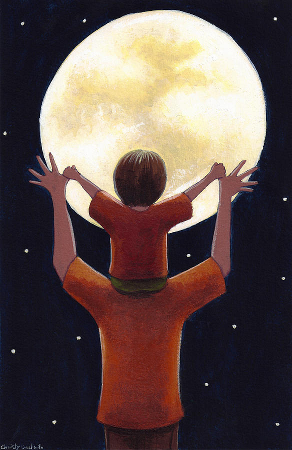 Child Painting - Reach The Moon by Christy Beckwith