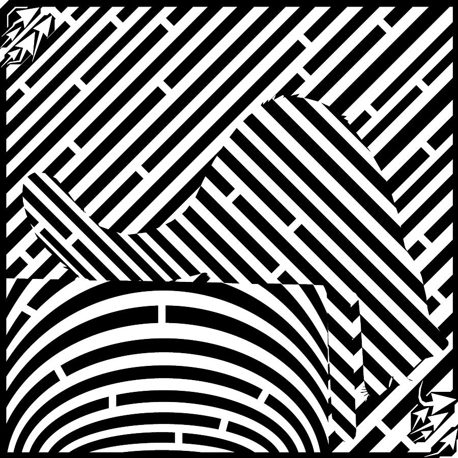 Maze Drawing - Reaching Cat Maze Op Art by Yonatan Frimer Op Art Mazes