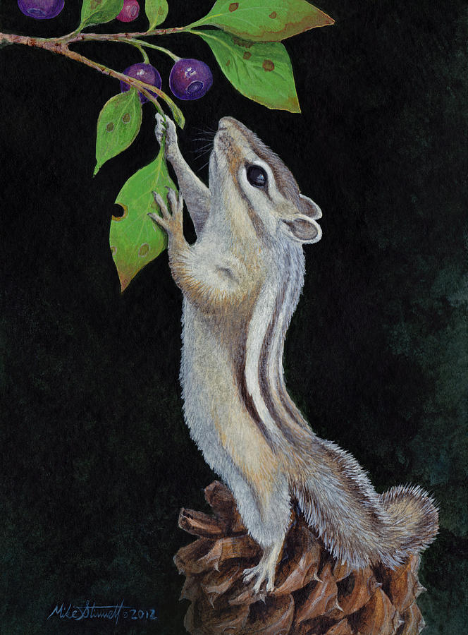 Chipmunk Painting - Reaching by Mike Stinnett