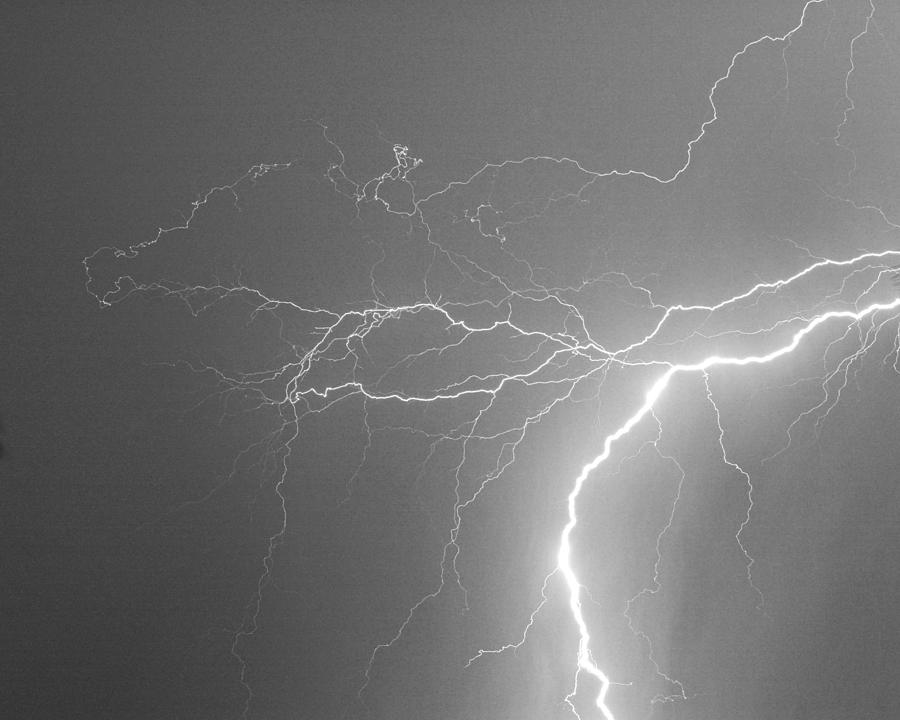 Lightning Photograph - Reaching Out Touching Me Touching You Bw by James BO  Insogna