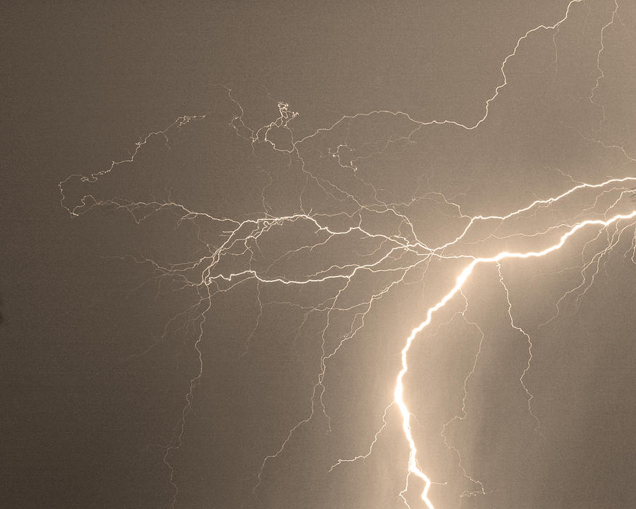 Lightning Photograph - Reaching Out Touching Me Touching You Sepia by James BO  Insogna