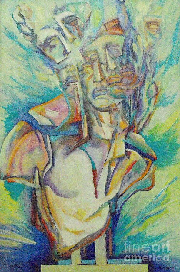 Greek Bust Painting - Reaching The Breaking Point 3 by Eva Berman