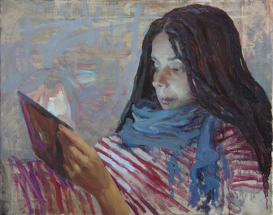 Portrait Painting - Reading A Letter by Korobkin Anatoly