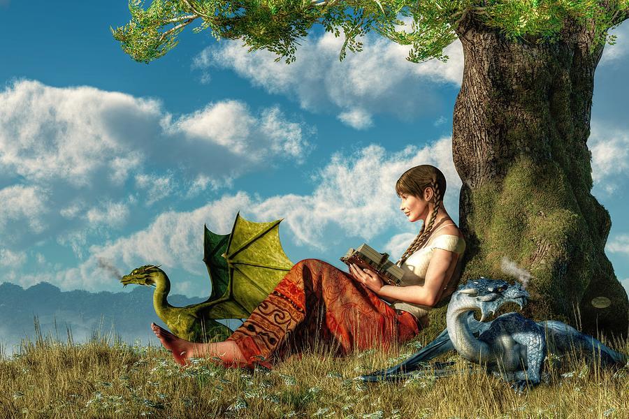 Reading Digital Art - Reading About Dragons by Daniel Eskridge