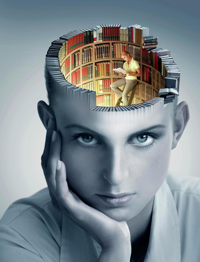 Book Photograph - Reading And Memory by Smetek/science Photo Library