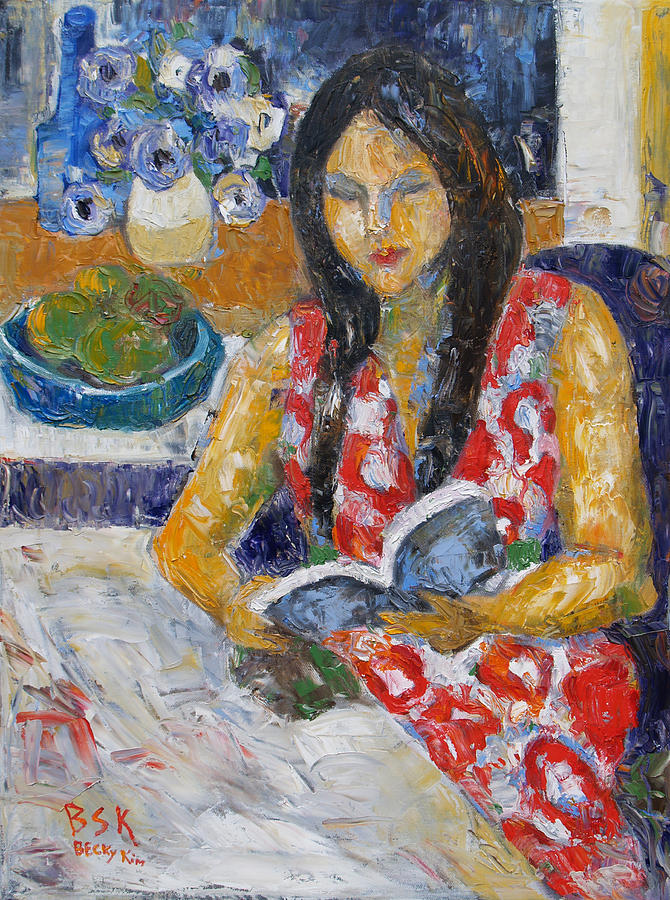 Oil Painting - Reading by Becky Kim