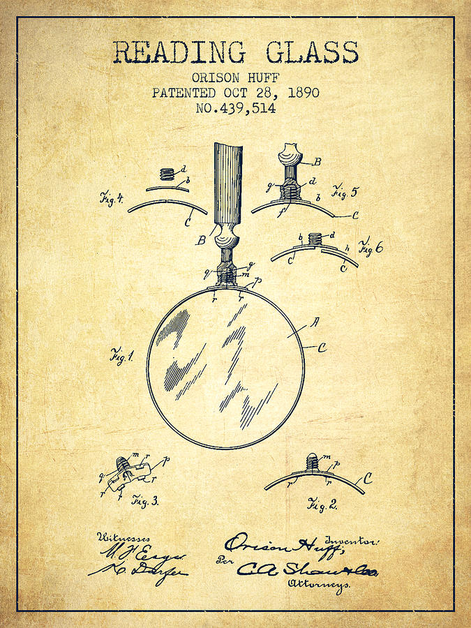 Magnifying Glass Digital Art - Reading Glass Patent From 1890 - Vintage by Aged Pixel