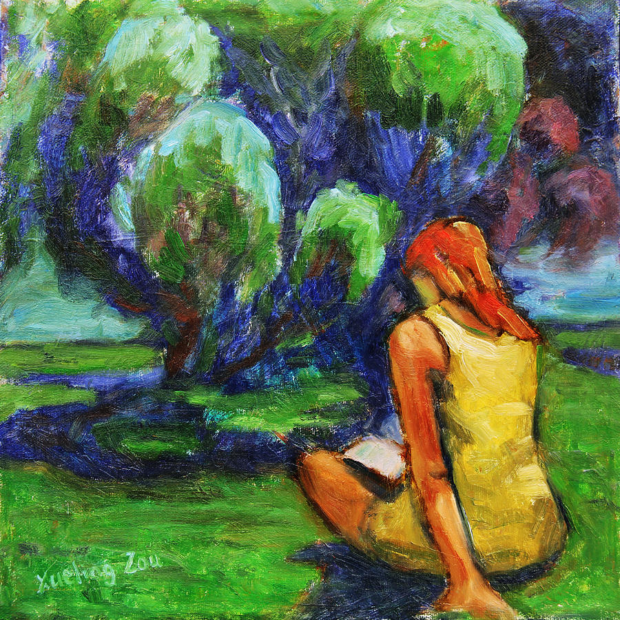 Figurative Painting - Reading In A Park by Xueling Zou