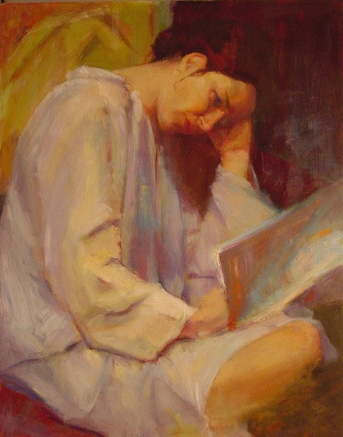 Figure Painting - Reading In The Blue Robe  by Irena  Jablonski