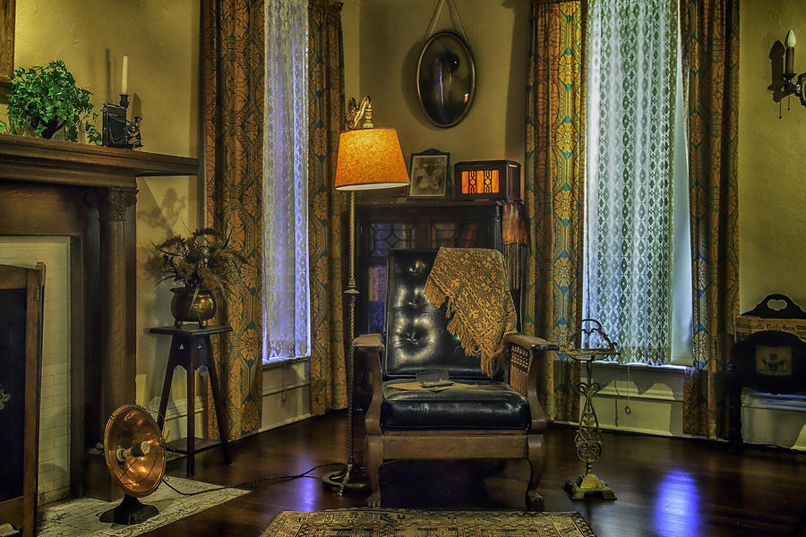Leather Photograph - Reading Nook With Leather Chair by Lynn Palmer
