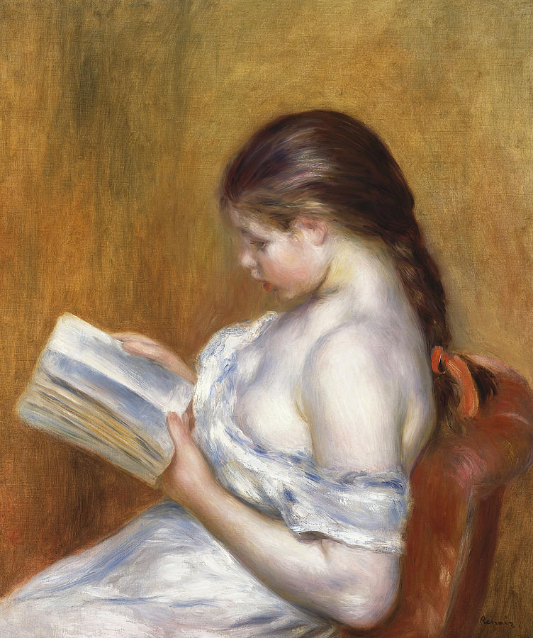 Impressionist Painting - Reading by Pierre Auguste Renoir