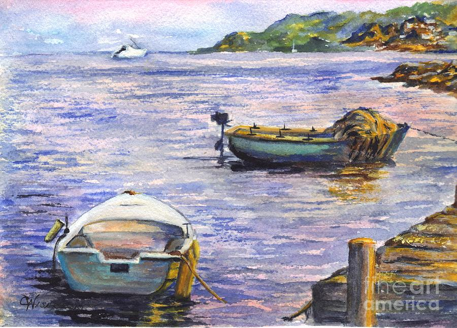 Boats Painting - Ready For A Sunset Row by Carol Wisniewski