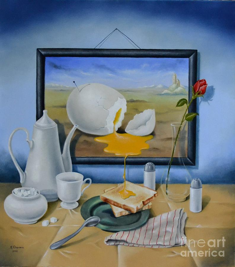 Oil Painting - Ready for breakfast by Nathalie Chavieve