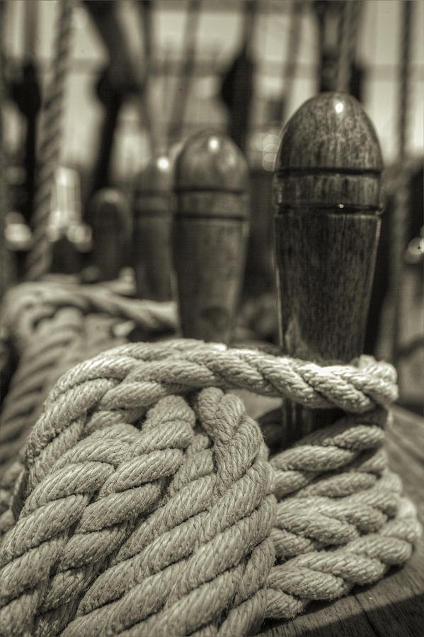 Rope Photograph - Ready For Work Black And White Sepia by Scott Campbell