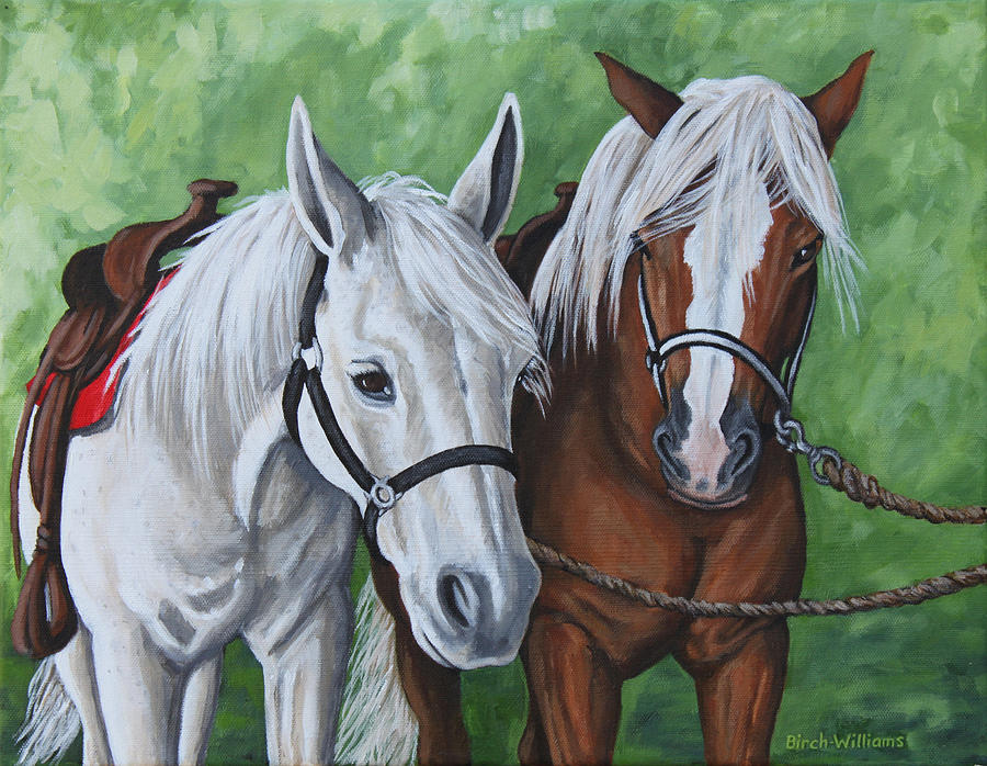 Horses Painting - Ready To Ride by Penny Birch-Williams
