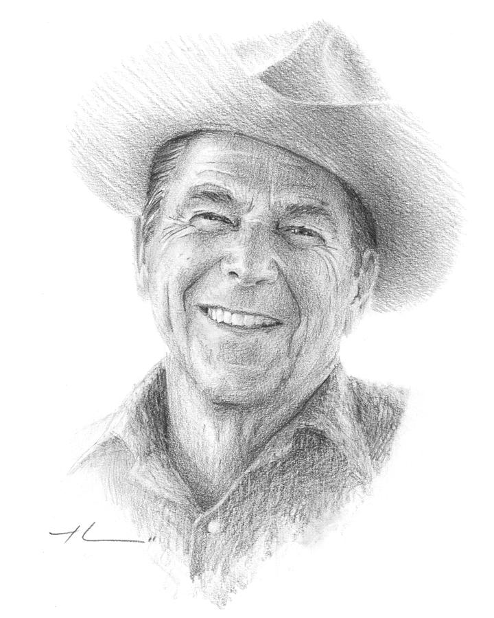 Reagan Drawing Mike Theuer Drawing by Mike Theuer