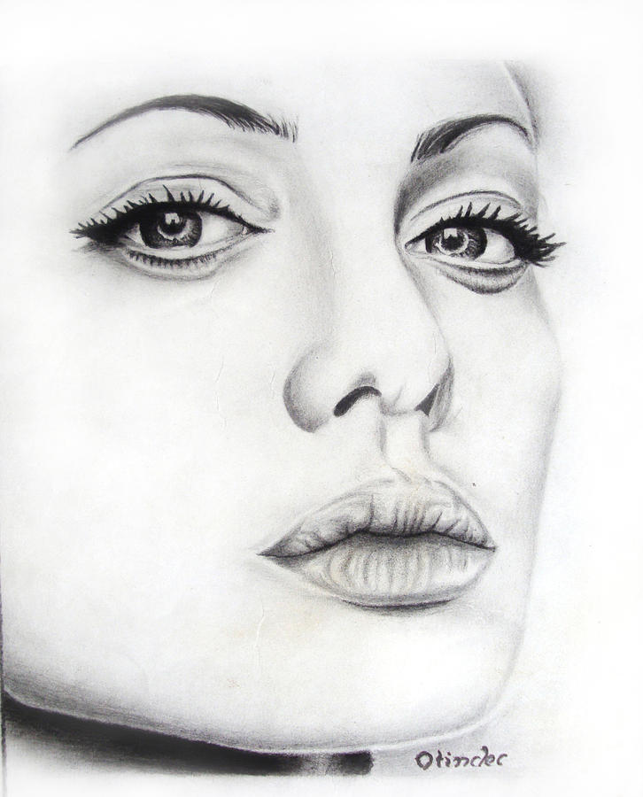 Actress Drawing - Real Angelina by Atinderpal Singh