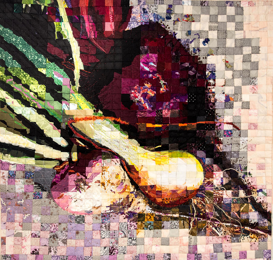Art Quilt Tapestry - Textile - Real Food Grown In Healthy Soil by Martha Ressler