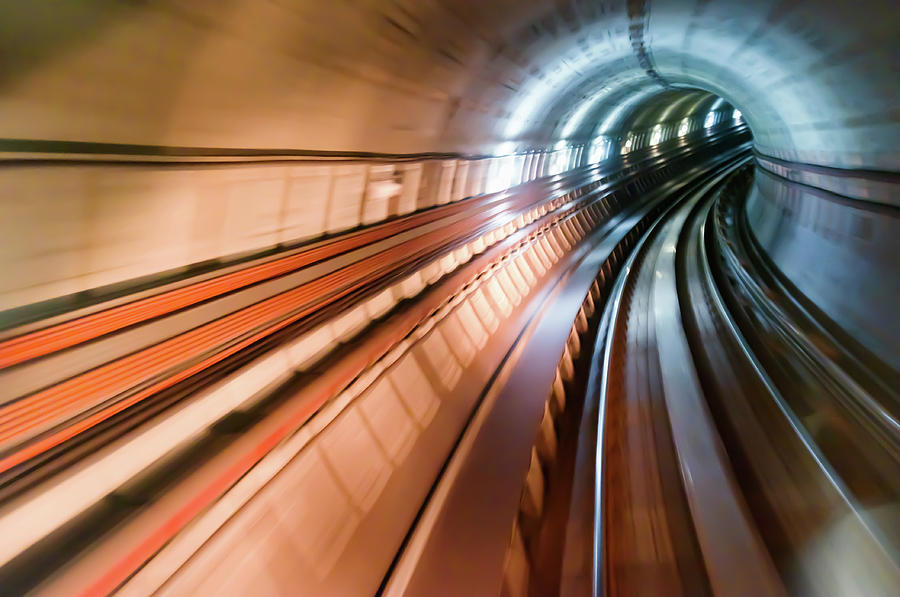 Curve Photograph - Real Tunnel With High Speed by Fredfroese
