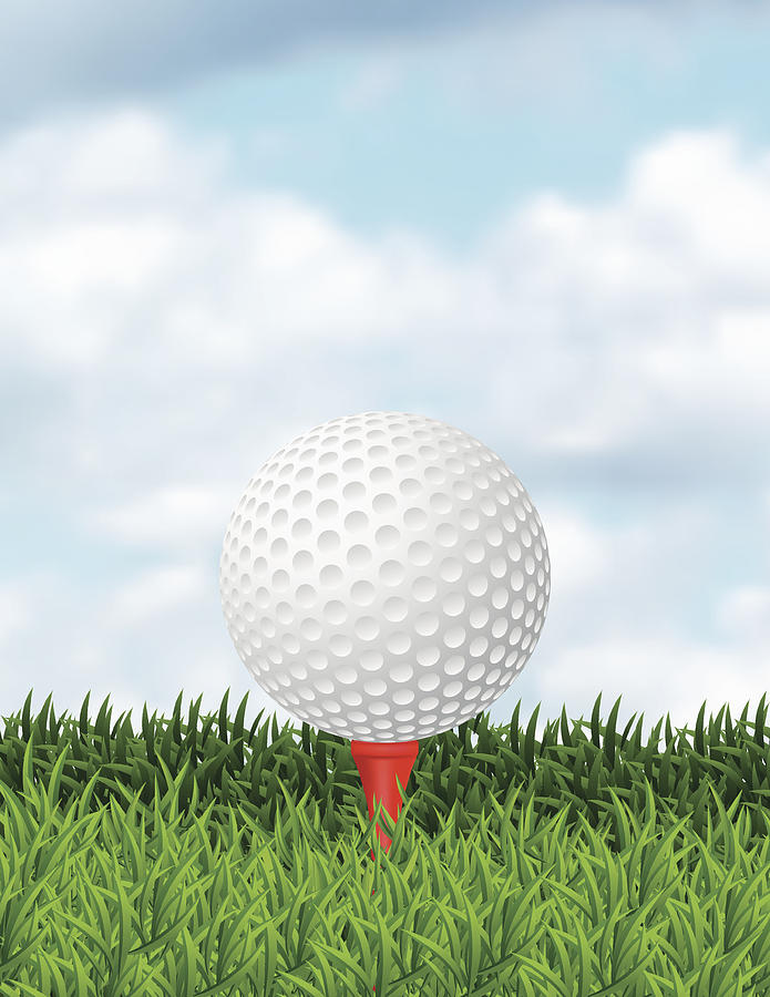 Realistic Golf Ball In The Grass With Copy Space Drawing by Diane Labombarbe