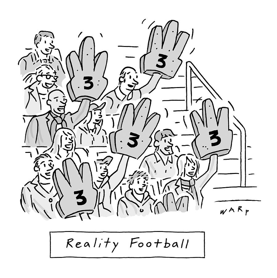 Reality Football -- A Group Of Cheering Fans Drawing by Kim Warp
