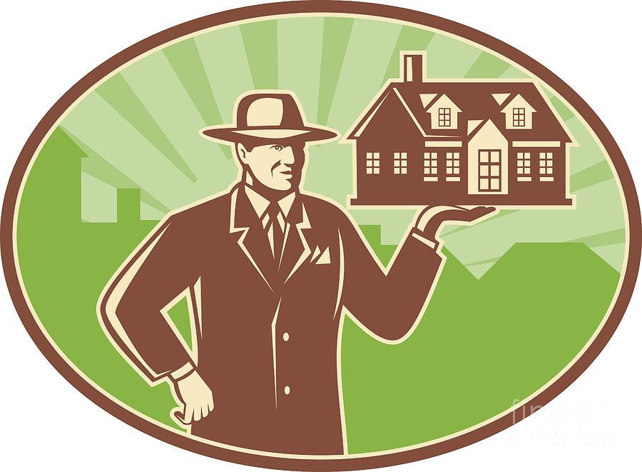 Realtor Digital Art - Realtor Real Estate Salesman House Retro by Aloysius Patrimonio