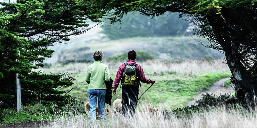 Backpack Photograph - Rear View Of Two Women Walking by Ron Koeberer