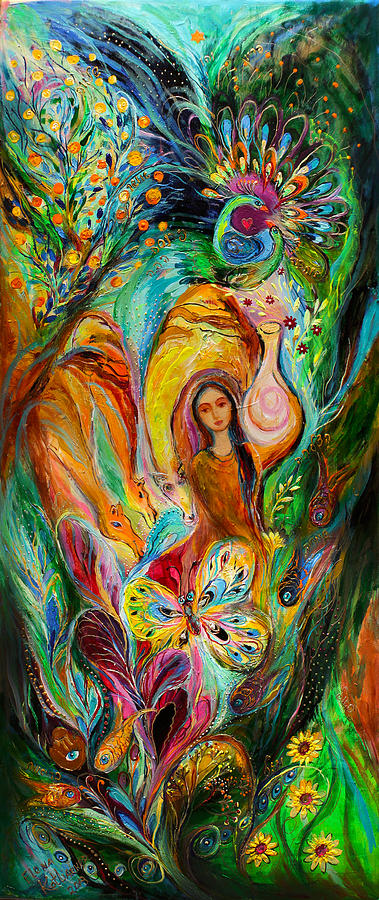 Jewish Art Prints Painting - Rebecca Watered The Camels by Elena Kotliarker