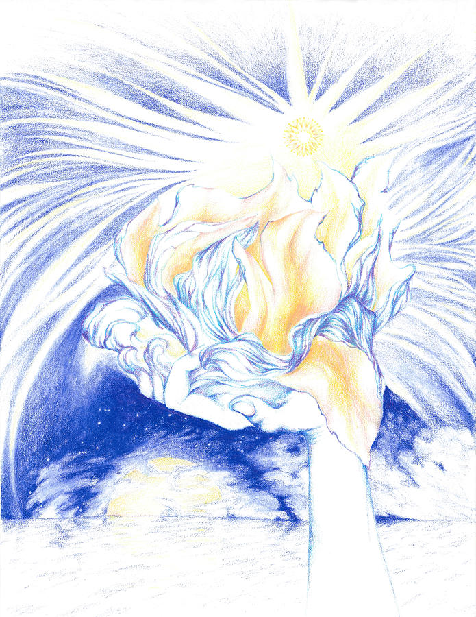 Blessing Drawing - Receiving Grace From The Divine    Oneness Art by Lydia Erickson