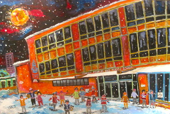 Montreal Painting - Recess At J.p.p.s. Simon Says by Michael Litvack