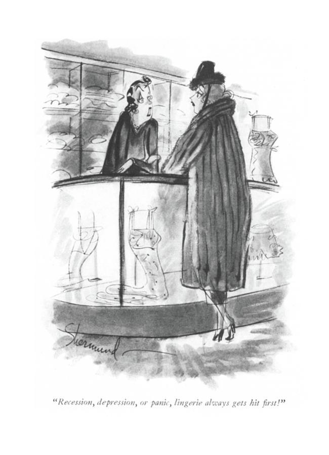 Recession, Depression, Or Panic Drawing by Barbara Shermund