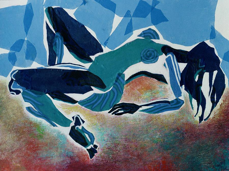Mixed Media  Acrylic Nude Mixed Media - Recline by Diane Fine