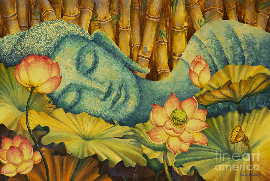 Reclining buddha painting by yuliya glavnaya for Buddha mural art