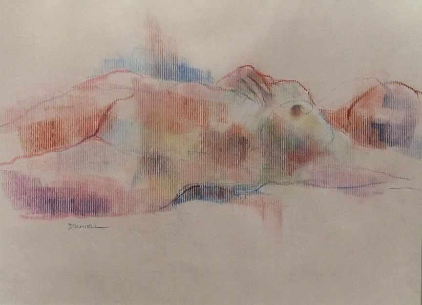 Figure Drawing Pastel - Reclining Figure by Frank Daniell