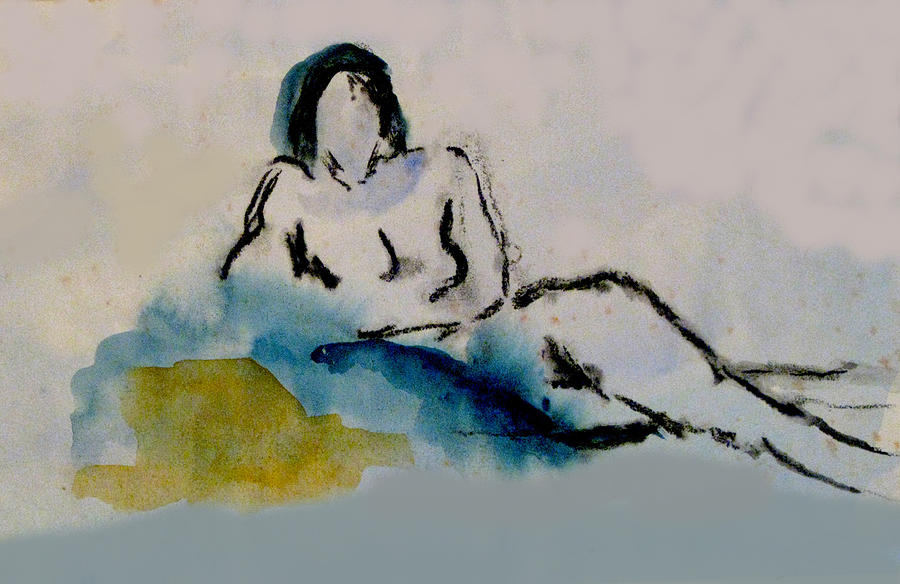 Watercolor Painting - Reclining Figure by James Gallagher