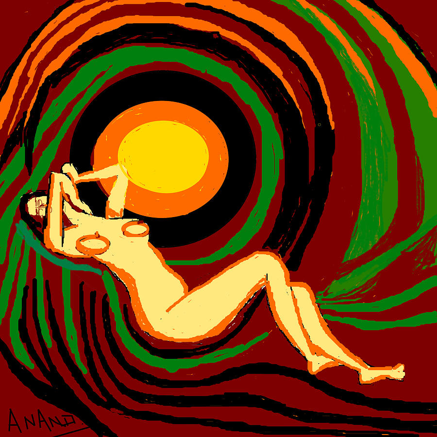 Reclining Nude Digital Art - Reclining Nude by Anand Swaroop Manchiraju