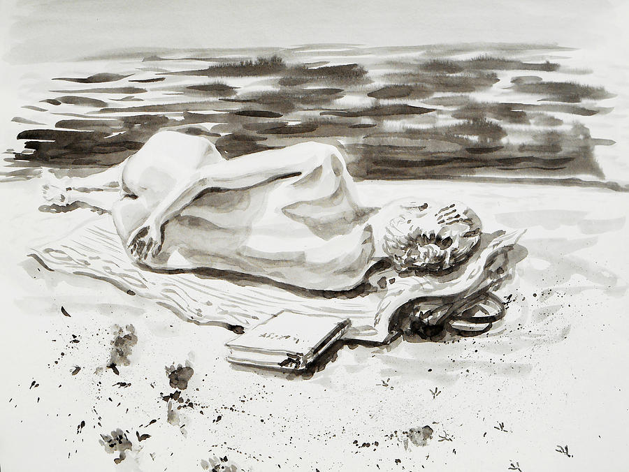 Nude Drawing - Reclining Nude Study Resting At The Beach by Irina Sztukowski