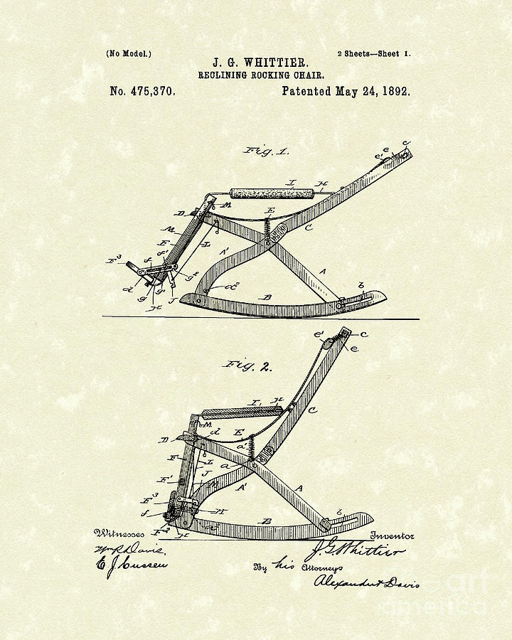 Whittier Drawing   Reclining Rocker 1892 Patent Art By Prior Art Design