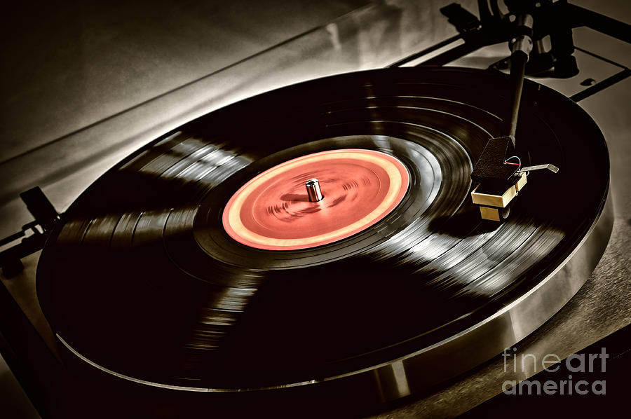 Vinyl Photograph - Record on turntable by Elena Elisseeva