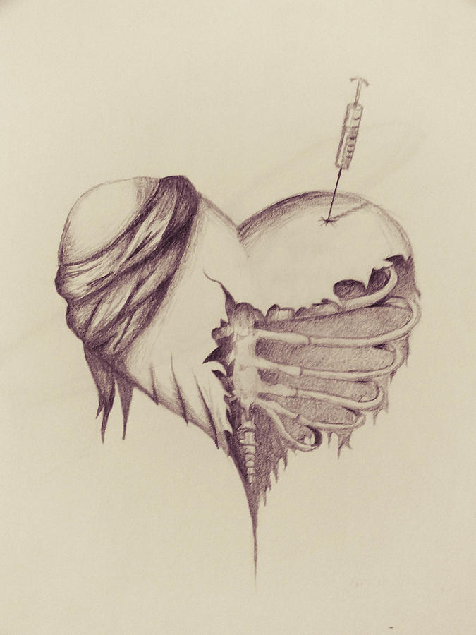 Heart Drawing - Recovery by Tess Porter